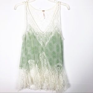 Free People   Ivory Green Lace Tank/Cami